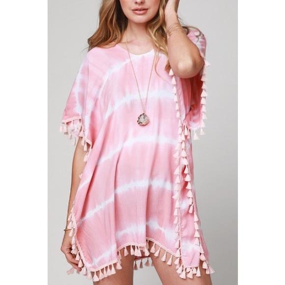 7a520a4e3f9fd Pink Tassel Tie Dye Beach Cover Up